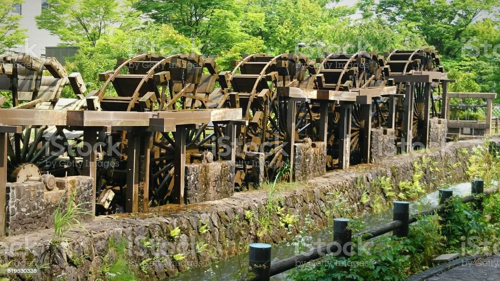 The biggest five waterwheels in Japan stock photo