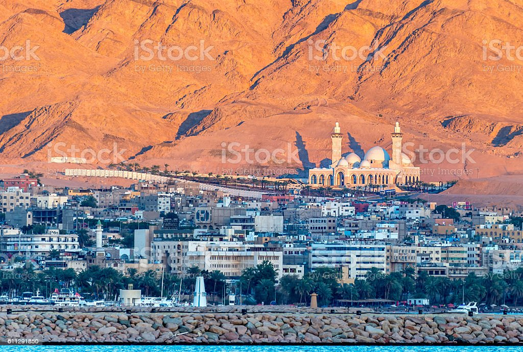 The biggest Jordanian mosque, Aqaba, Jordan stock photo