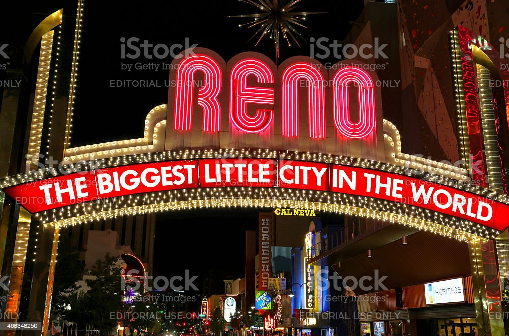 'The Biggest Little City in the World' sign at night royalty-free stock photo