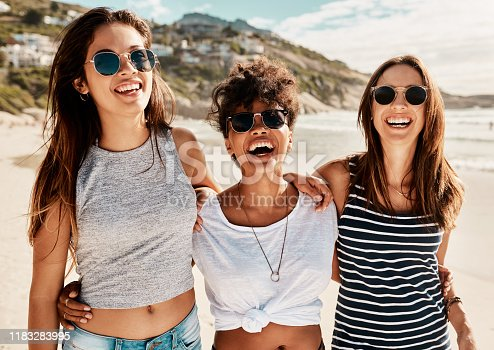 Shot of a group of happy young women enjoying a summer's day at the beach