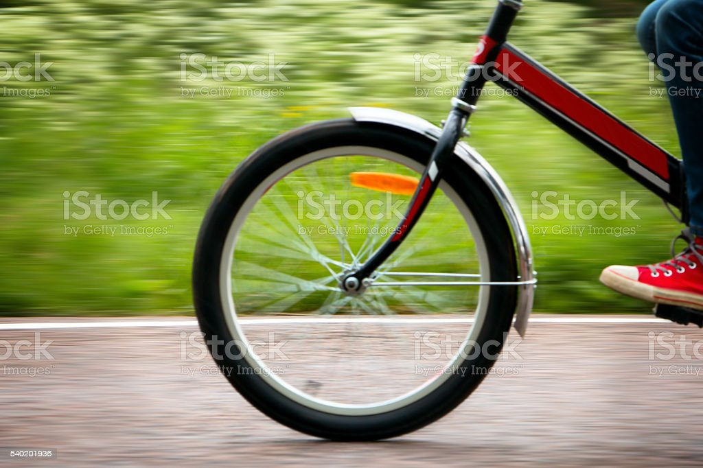 the bike moves at a speed of stock photo