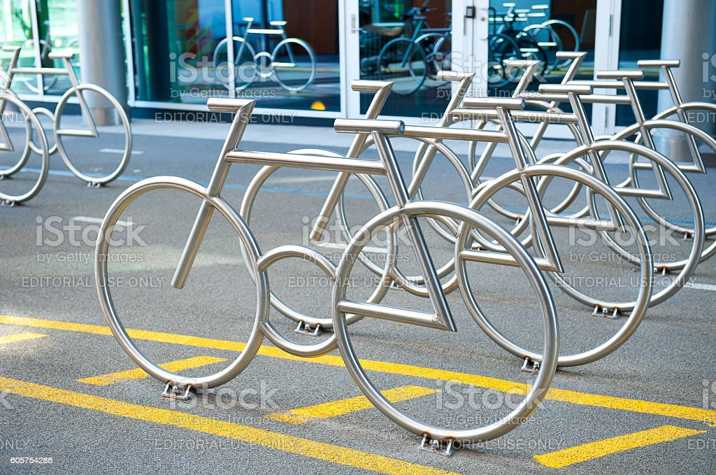 The Bike Racks at Barcode Project in Oslo stock photo