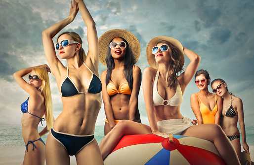 Different women in bikini