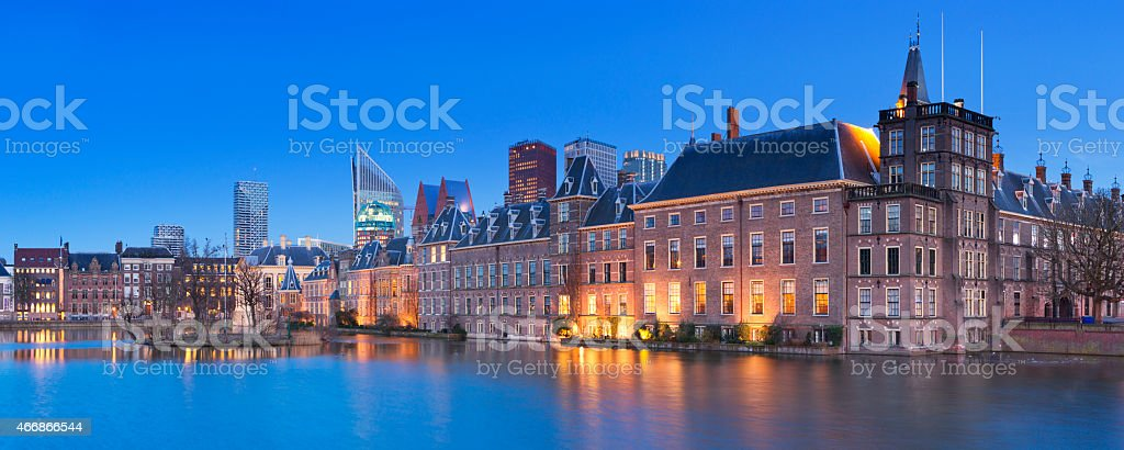 The Binnenhof in The Hague, The Netherlands at night stock photo