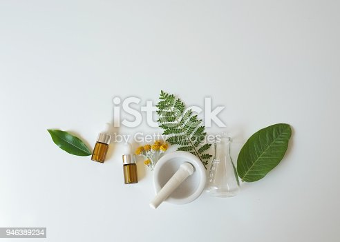 istock The bio laboratory glassware and blank cosmetic bottle containers with  herbal ingredient, package for branding .Natural organic beauty skincare product concept. alternative medicine. 946389234
