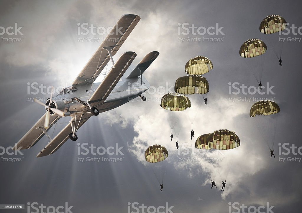 The biplanes with airborne infantry. stock photo