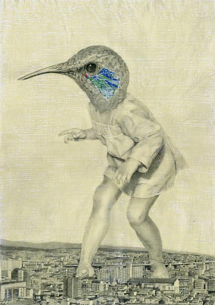 der vogel, die zu einer riesigen - naive malerei stock-fotos und bilder