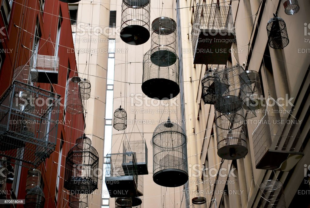 The Birdcages in vibrant Angel Place laneways precinct in the heart of Sydney. stock photo
