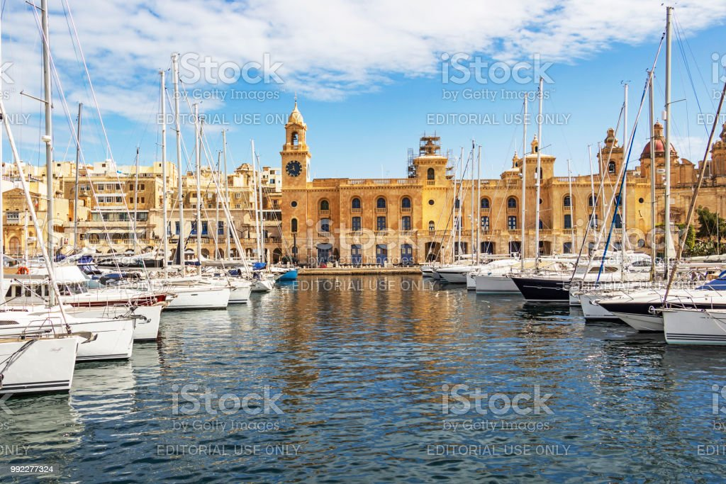 The Birgu waterfront marina in front of the Maritime Museum stock photo
