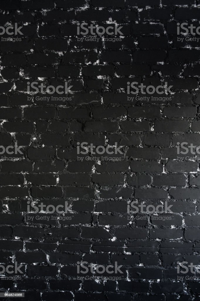 The black brick texture with cracks and scratches can be used as a background. Vertical royalty-free stock photo