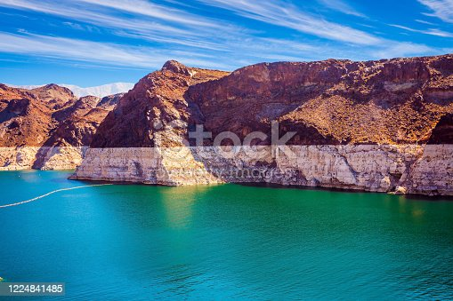 The lower course of the Colorado River. The Black Canyon, the state border of Arizona and Nevada. The USA. The concept of active and photo tourism