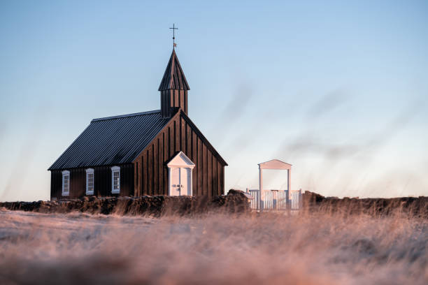 The Black Church of Budir in Iceland stock photo