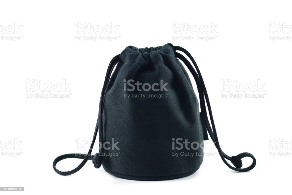 the black cloth bag with swiping line on white background stock photo