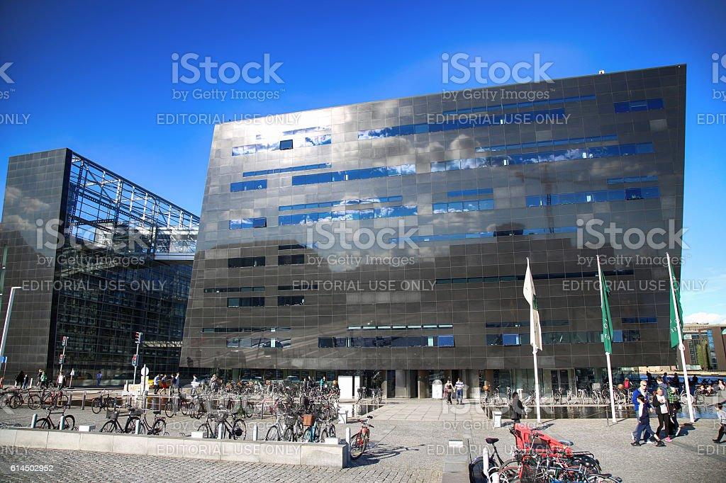 The Black Diamond, The Copenhagen Royal Library in Copenhagen, Denmark stock photo