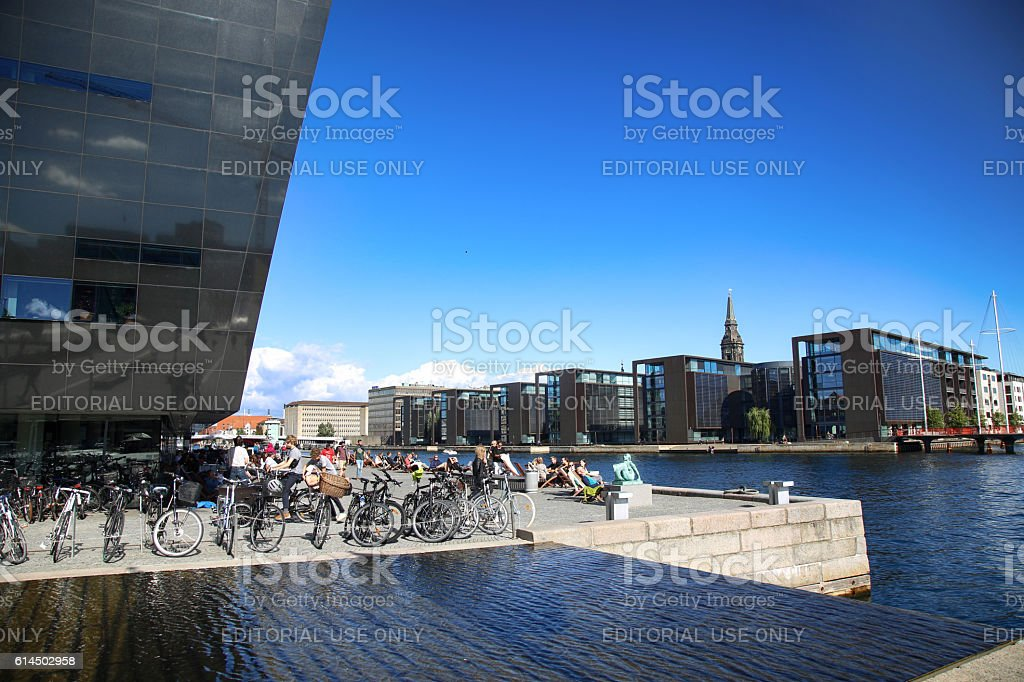 The Black Diamond, The Copenhagen Royal Library in Copenhagen, Denmark stock photo