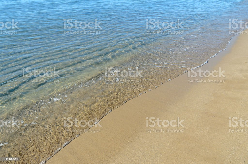 The Black Sea beach with golden sands, blue fresh clear water, bulgarian shore stock photo