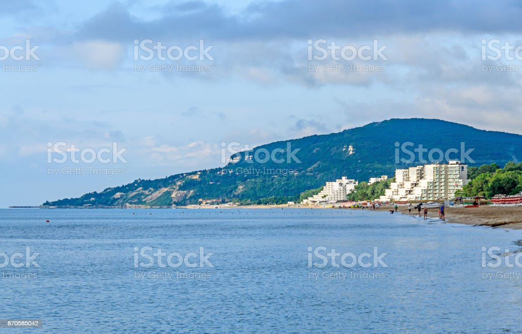 The Black Sea shore from Albena, Bulgaria with golden sands, sun, blue  water, hotels stock photo