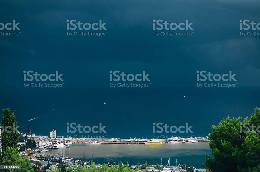 The black sea, Wharf, Yalta, funicular stock photo