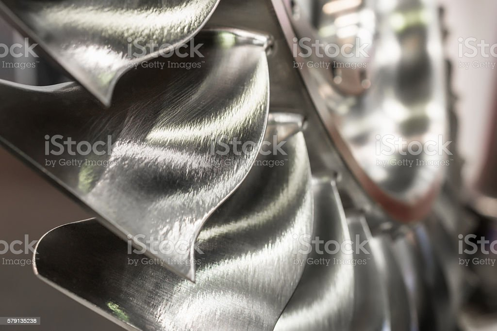 The blades of the turbine wheel, close-up shot. stock photo