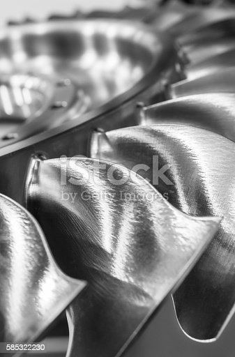 536680742 istock photo The blades of the turbine wheel, close-up shot. 585322230