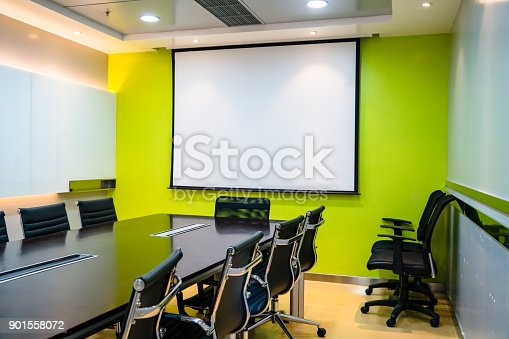 istock the blank display/projector display in the business meeting room 901558072