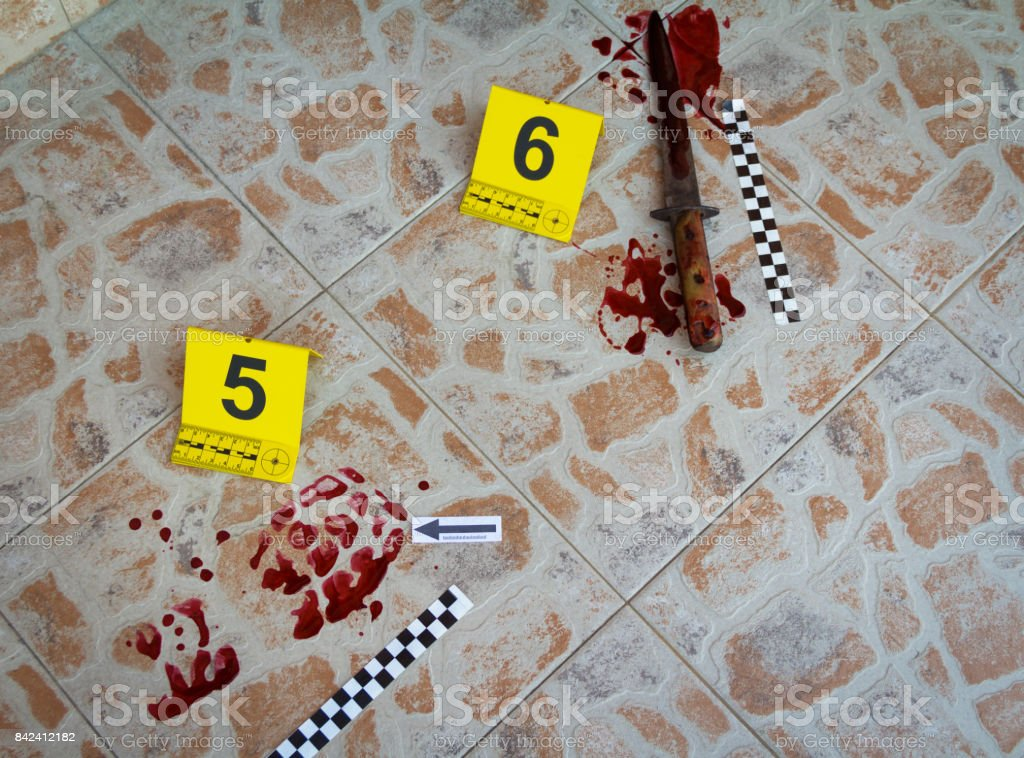 The bloody trail of footwear and bloody knife found at the crime scene stock photo