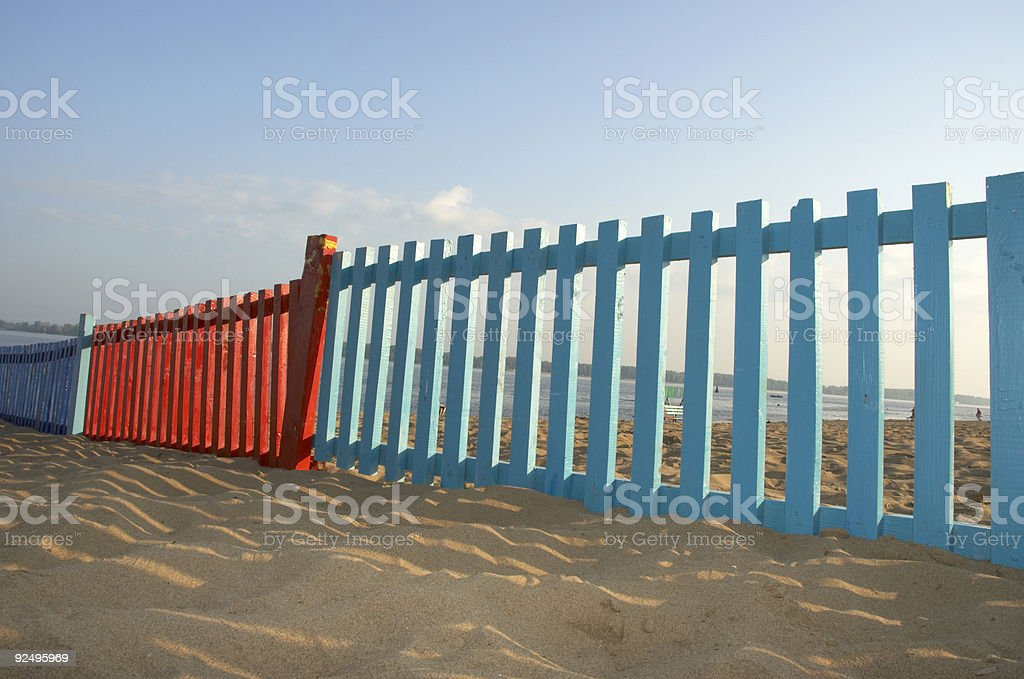the blue and red fence royalty-free stock photo