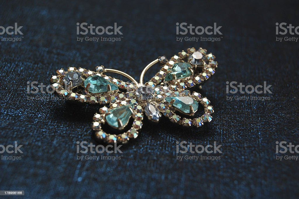 The blue butterfly with crystal royalty-free stock photo