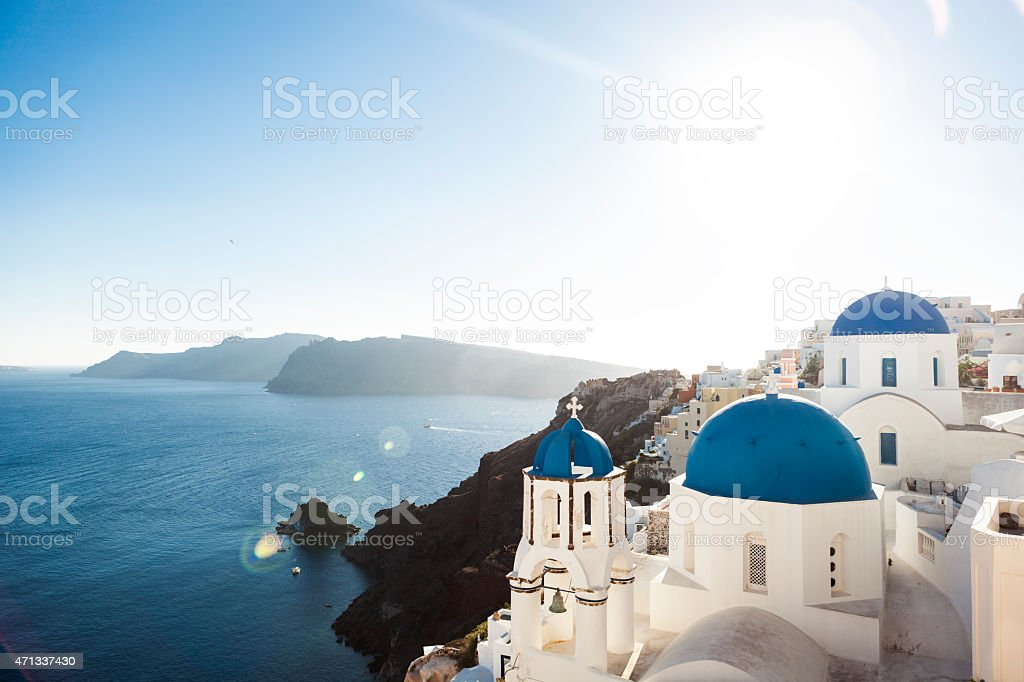 The Blue Church Domes of Oia, Santorini stock photo