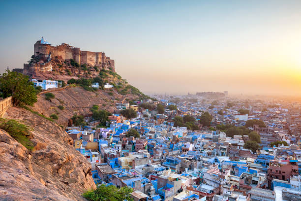 The Blue City and Mehrangarh Fort in Jodhpur. Rajasthan, India stock photo