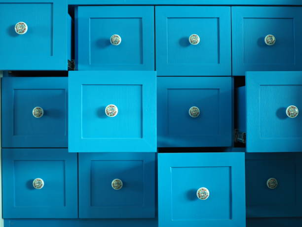 The blue drawers stock photo