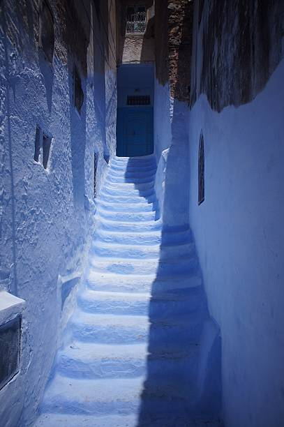 The blue hallway and house of Chechaouen Morocco stock photo