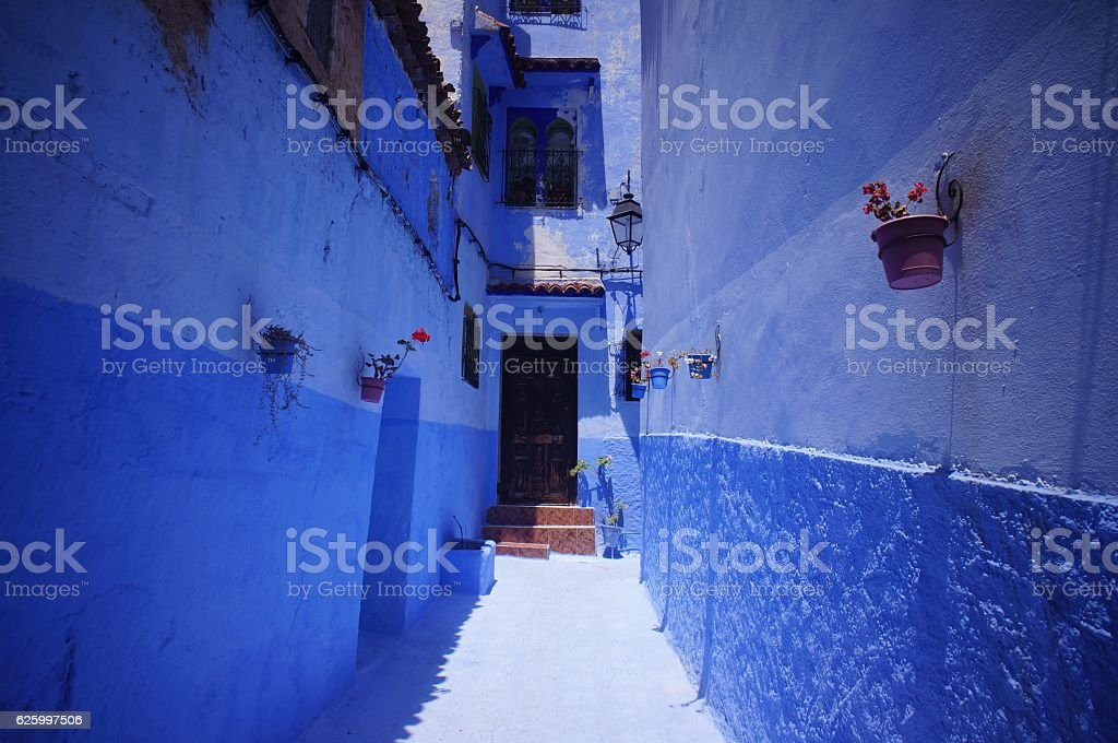 The Blue House and Walls of Chefchaouen stock photo