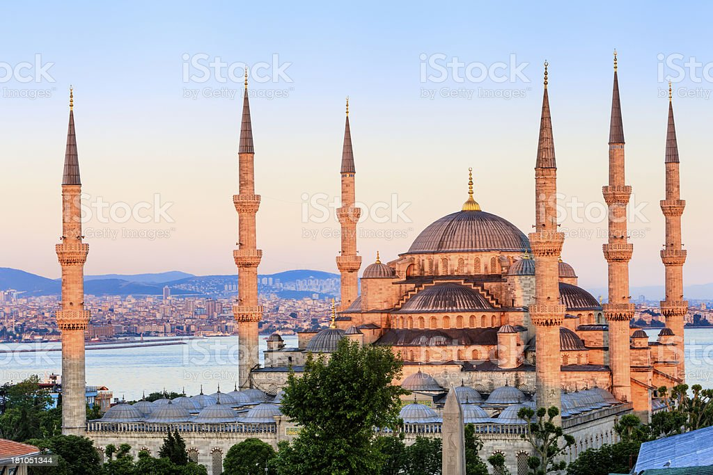 The Blue Mosque during sunset, Istanbul, Turkey royalty-free stock photo
