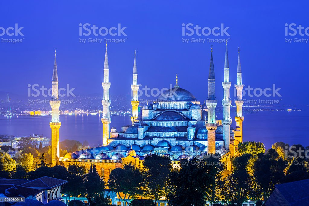 The Blue Mosque fog in Istanbul Turkey stock photo