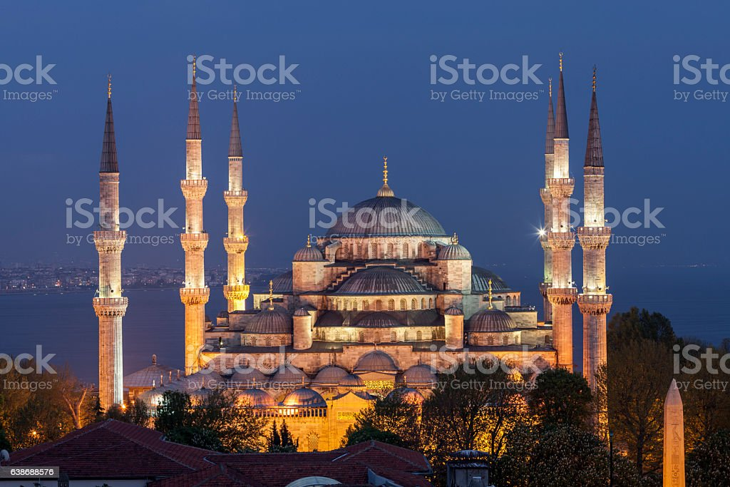 The Blue Mosque in Istanbul at night, Turkey stock photo
