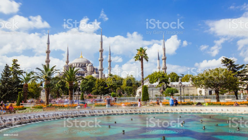 The Blue Mosque or Sultanahmet outdoors in Istanbul city in Turkey stock photo