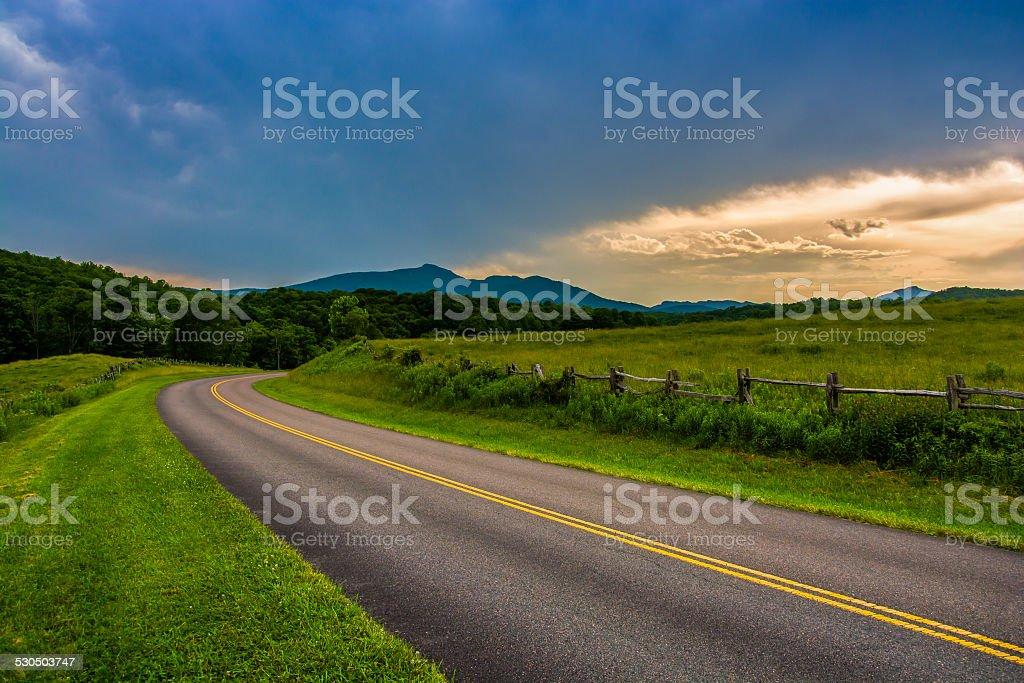 The Blue Ridge Parkway, near Blowing Rock, North Carolina. stock photo