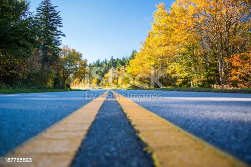 istock The Blue Ridge Parkway with an empty road 187785863