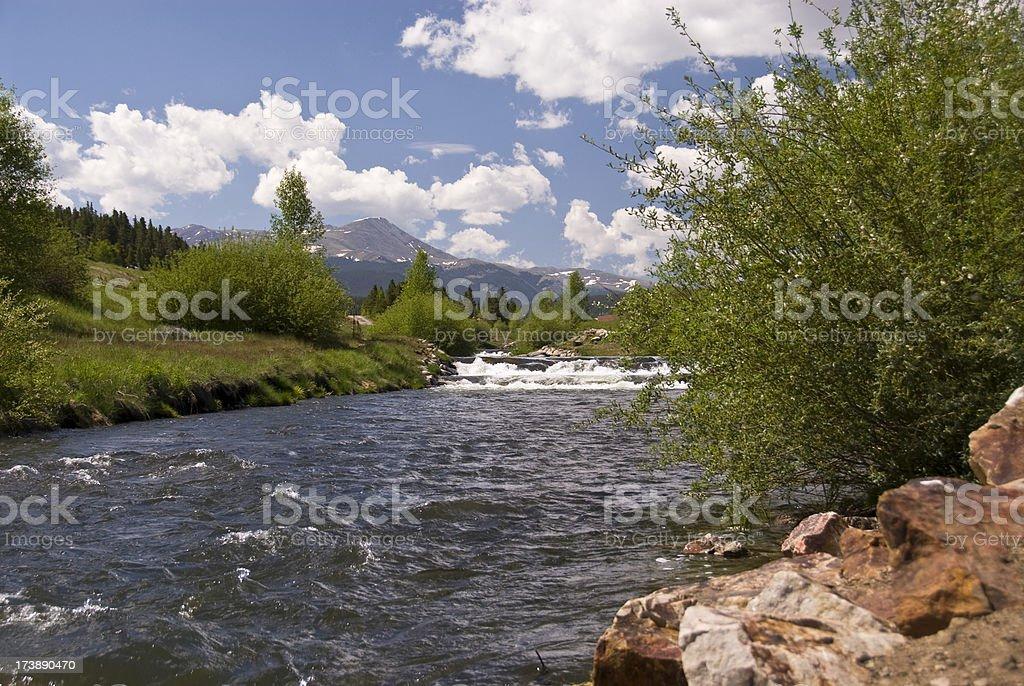 The Blue River, in Breckenridge, Colorado stock photo