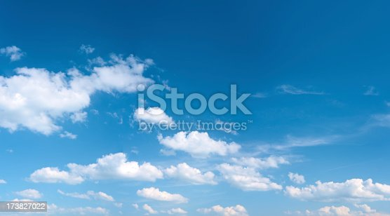 Cirrus clouds over a blue sky background