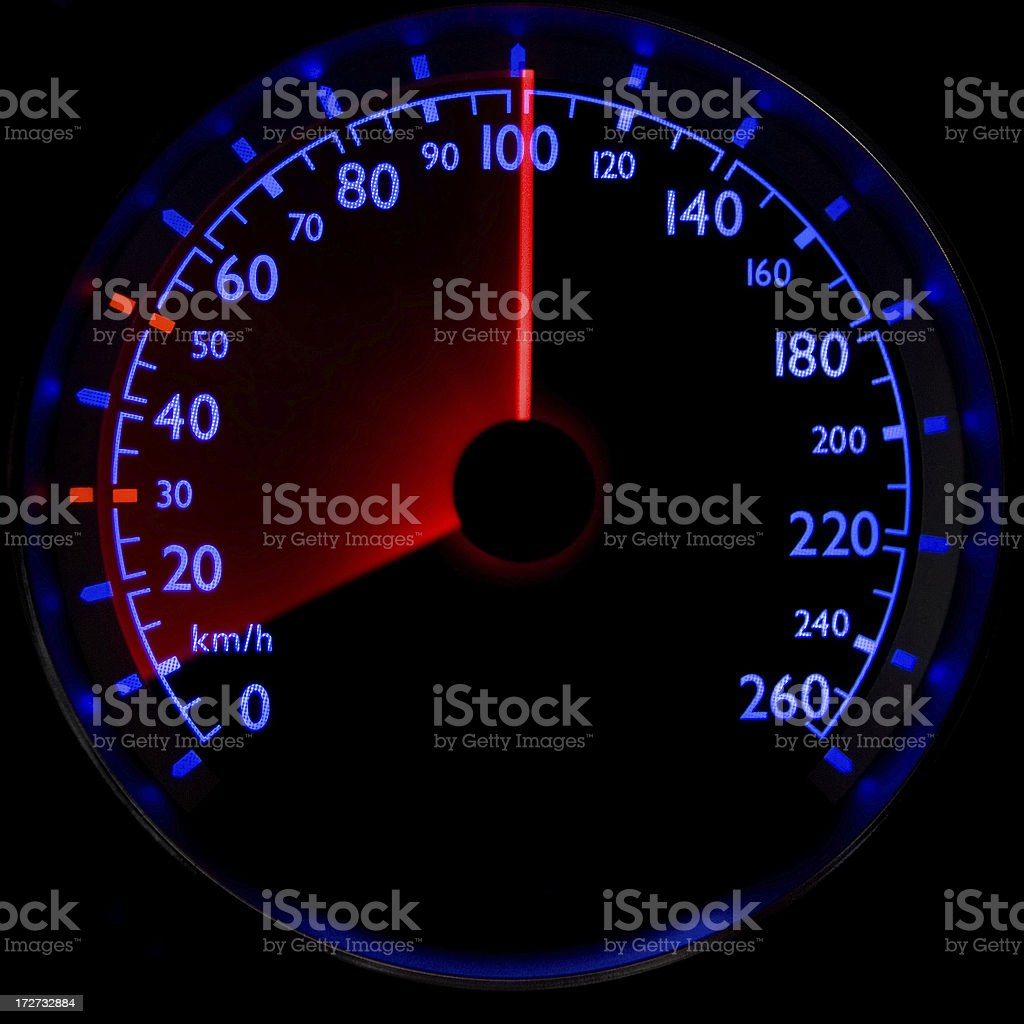 The blue speedometer - accelerating from 10 to 100 km/h royalty-free stock photo