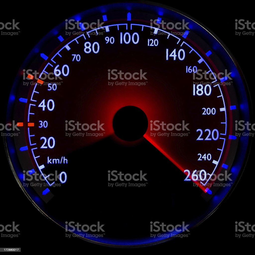 The blue speedometer - accelerating from 10 to 260 km/h royalty-free stock photo