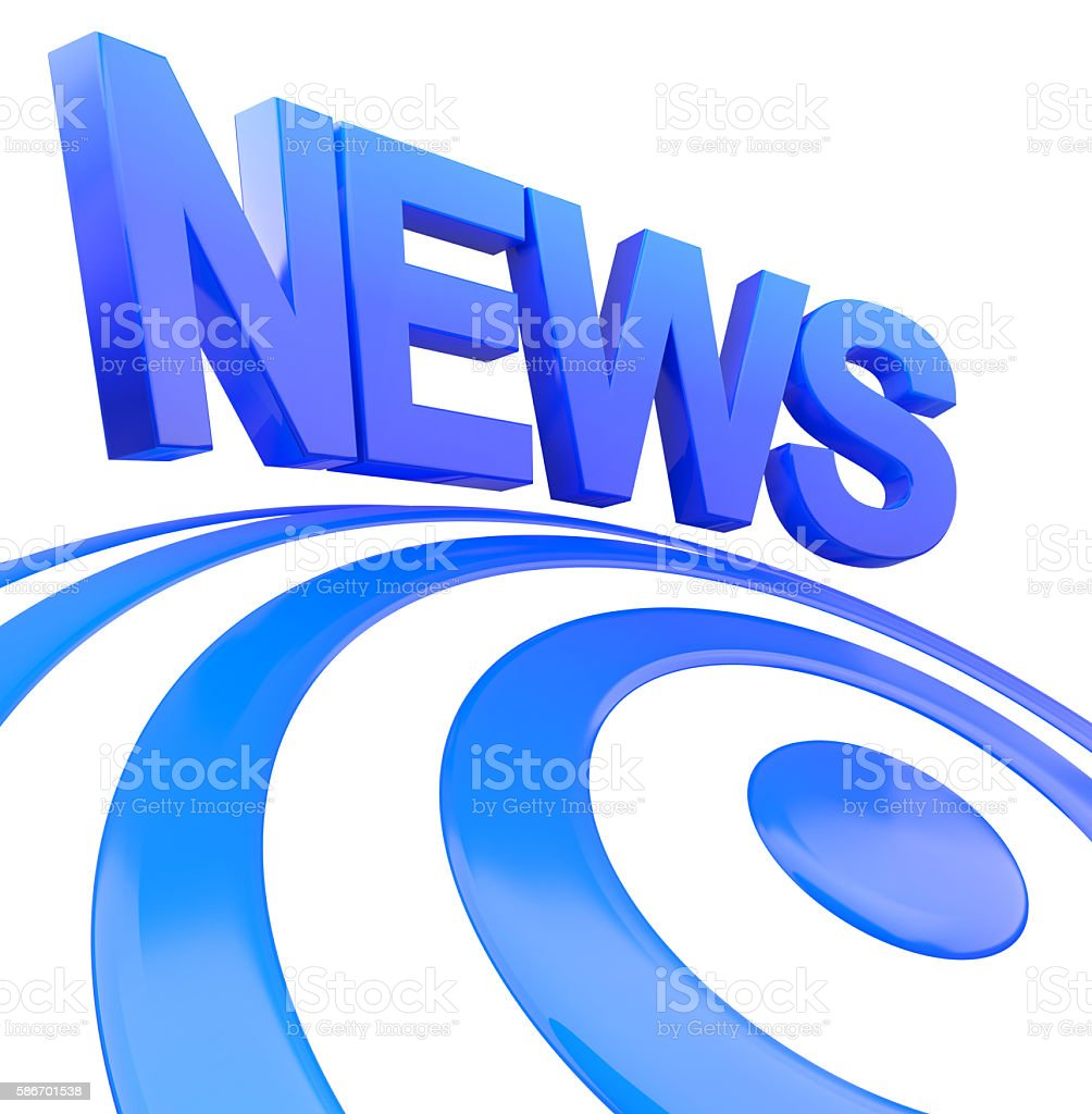 The blue word news, 3d render concept stock photo