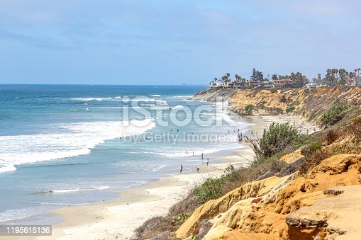 A view from the bluffs overlooking the Carlsbad beach and Pacific Ocean in Southern California