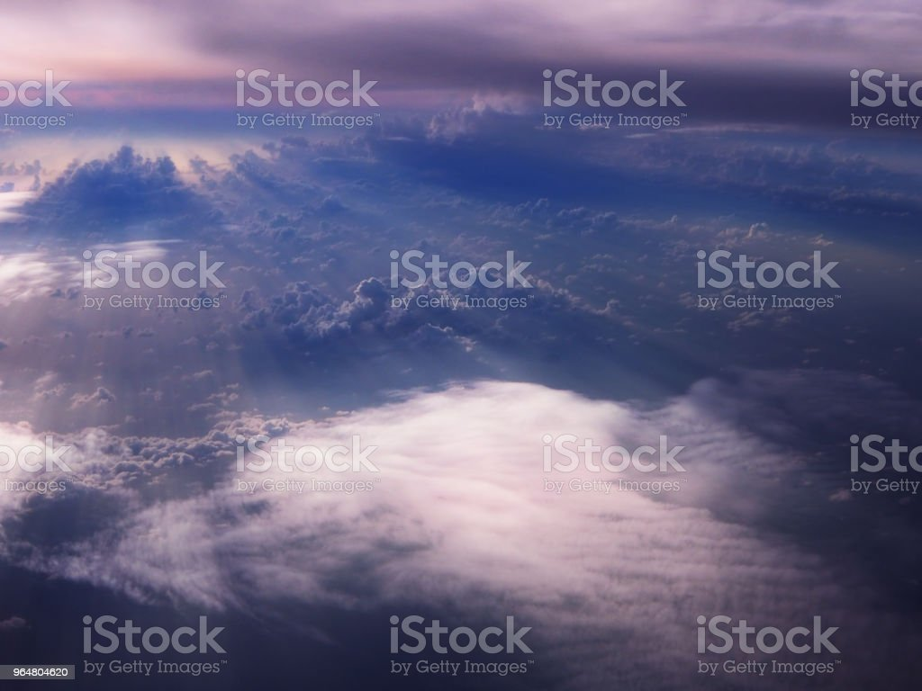 The blurry design background of sky backgroud before sunrise,reflection of sunlight pass through smoky cloud,beautiful top view,abstract art design. royalty-free stock photo