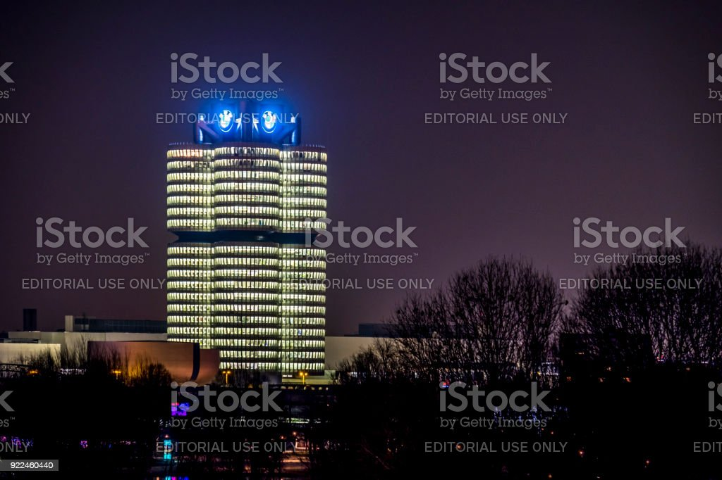 The BMW headquarters is looking like 4 cylinder and also named after it stock photo