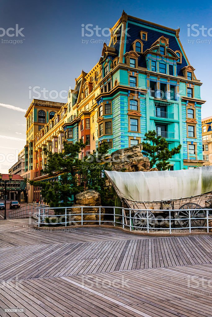 The boardwalk and buildings in Atlantic City, New Jersey. stock photo