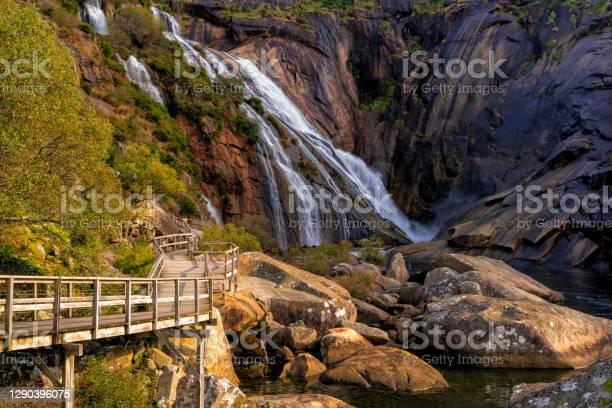 Photo of the boardwalk leading to the Ezaro Waterfall in western Galicia