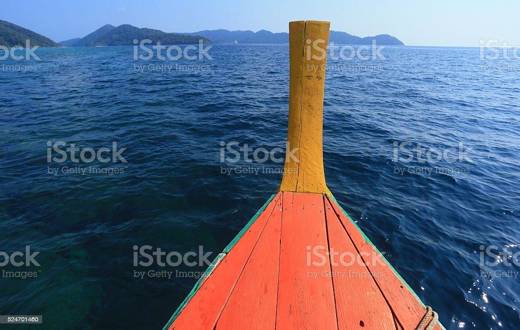 The boat on sea stock photo